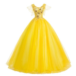 victoria cosplay NZ - Freeship yellow flare sleeev fairy princess long gown medieval dress cartoon princess Medieval Renaissance Gown queen cosplay Victoria dress