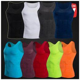 Опт 9 цветов мужские похудения тела формирователь жилет рубашка майка мужская животик талии жилет похудеть рубашка тонкий сжатия мышцы танк CCA8767 100 шт.