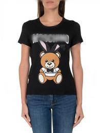 2019 Marca Verão Tops Moda TEE Mulheres VOGUE Urso coelho orelha Impresso Harajuku T Shirt Preto Feminino T-shirt Camisas Tees Senhoras Tshirt Mo58