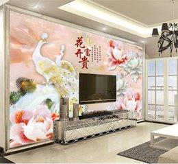Personalizzato al dettaglio 3D Jade Carving Paio Pavone Jiaoyan Peonia Xiangyun Indoor Sfondo Decorazione Murale in Offerta
