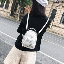 2018 shoulders female bag of PU leather marble girls backpack Japanese  style bag c75c992648