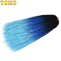 "hair twists NZ - TOMO Senegalese Twist 24"" Long Braiding Hair Extensions Dip Dye Blue Red Green Ombre Micro Synthetic Crochet Pre-Loop Hair 30strands pack"