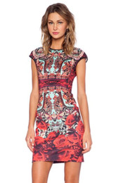 $enCountryForm.capitalKeyWord NZ - Newest Women Vogue Dress 3D Print Rose Graphic Red Dress Short Sleeve Party Dress Summer Slim Mini Dresses for Ladies