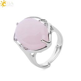 $enCountryForm.capitalKeyWord Canada - CSJA New Wholesale Women Finger Rings Oval Natural Health Stone Cabochon Pink Purple Crystal Quartz ePacket Free Shipping Jewelry E583 A
