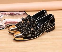 $enCountryForm.capitalKeyWord Australia - Mens designer loafer Men's luxury leather leisure fashion leisure suit black leather shoes men wedding shoe golden tassels men slippers nx18