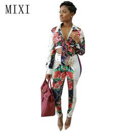 Elegant Jumpsuits Sleeves Australia - MIXI Elegant Rompers Womens Jumpsuit Two Piece Outfits Long Sleeve Vintage Printed Skinny Jumpsuits Ladies Office Party Overalls