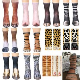 Camping & Hiking Objective 2018 Novelty 3d Stamping Animal Foot Paw Feet Crew Socks Adult Digital Simulation Socks Unisex Tiger Dog Cat Sock