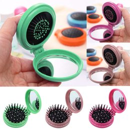 folding pocket comb Canada - Portable Round Pocket Small Size Travel Massage Folding Comb Girl Hair Brush With Mirror Styling Tools 3 Colors