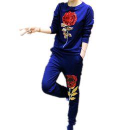 China Autumn Korean New Casual Fashion Women 'S Tracksuit Sweatshirts Wide Leg Pant Loose Full Sleeve Two Piece Set Female cheap korean yoga pants suppliers