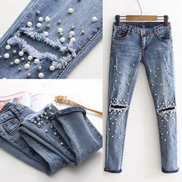 Boyfriend Trousers Canada - Women Fashion Destroyed Ripped pearled Slim Denim Pants Boyfriend Jeans Trousers Ladies Womens Daily Casual Jean Pant Clothing