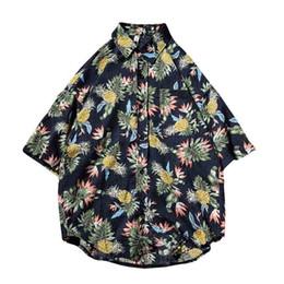broadcloth cotton 2019 - 2018 Summer New Hawaiian Shirt Cotton Short Sleeve Men Shirts Loose Pineapple Print Fashion Half Sleeve Collar Shirts 5x