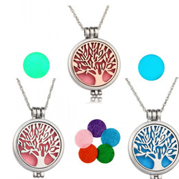 """$enCountryForm.capitalKeyWord Australia - Necklace Locket Pendant Tree of life Aromatherapy Essential Oil Diffuser Stainless Steel Jewelry with 24"""" Chain Washable Necklaces Pads"""