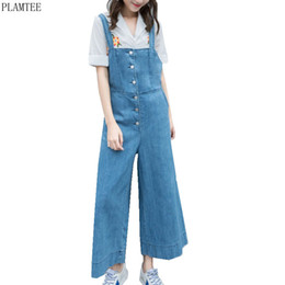 d7947e24314 PLAMTEE Single-Breasted Denim Overalls 2017 Summer Wide Leg Jumpsuits Women  High Waisted Washed Jeans Rompers Combinaison Femme
