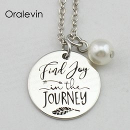 jewelry findings links UK - High Quality FIND JOY IN THE JOURNEY Inspirational Hand Stamped Engraved Charm Custom Pendant Necklace Handmade Jewelry,10Pcs Lot, #LN2424