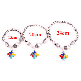 $enCountryForm.capitalKeyWord NZ - Women Men Charm Bracelet Classic Design Autism Style Jigsaw Puzzle Pattern Design With Beautiful Enamel Zinc Alloy Provide Dropshipping