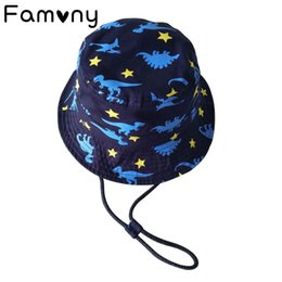 Baby Travel Accessories UK - Dinosaur Star Printed Sun Cap Cotton Bucket Dotted Line Hat Spring Summer Sunscreen Hats For Baby Beach Travel Accessories