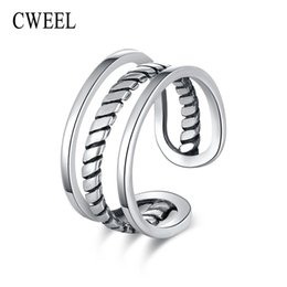 Christmas Gifts Female Australia - CWEEL Rings Hollow Punk 925 Sterling Silver Rings For Women Wide Open Ring Female Simple Engagement Ring Christmas Gift