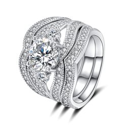 Platinum Product online shopping - 2018 new products European and American fashion piece set foreign trade violence style jewelry colored zircon plated platinum ring JZ28