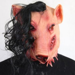 $enCountryForm.capitalKeyWord Canada - Adult Scary Animal Masks Pig Head with Black Hair Silicon Masks Halloween Party for Full Head Cosplay Costume Tools