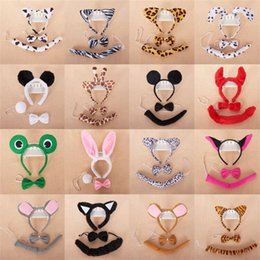 Show kitS online shopping - Children Day Head Hoop Animal Three Piece Set Perform Heads Buckle Headband Headwear Collar Tail Kit Sets Party Show Supply ax gg