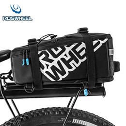 Bicycle rear panniers rack online shopping - ROSWHEEL L Nylon Waterproof Mountain Bike Road Bicycle Bag Cycling Rear Rack Tail Seat Pannier Top elastic mesh pouch design
