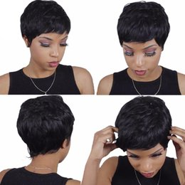 bob cut natural african hair 2018 - Wigs for black women Pixie cut short human hair wigs for black women bob Machine wigs with baby hair for Africans Free s