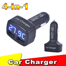 $enCountryForm.capitalKeyWord Australia - DHL 50PCS 4 in 1 Car Charger Dual USB DC 5V 3.1A Adapter With Voltage Temperature Current Meter Tester Digital LED Display