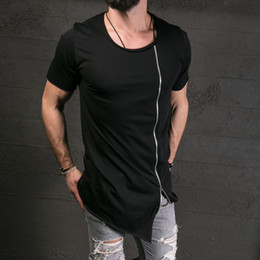 Hip Hop stylisH sHirts online shopping - New Men S Fashion Show Stylish Long T Shirt Asymmetrical Side Zipper Big Neck Short Sleeve T Shirt Male Hip Hop Slim Tee
