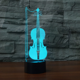 Batteries Usb Mouse Australia - Cello Violoncello 3D Optical Illusion Lamp Night Light DC 5V USB Powered AA Battery Wholesale Dropshipping
