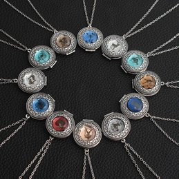 chain locket girl fashion 2019 - 12 Zodiac Signs Necklaces With Crystal Constellation Necklace Birthstone Lockets Necklace Lovers Necklace Women Girl Fas
