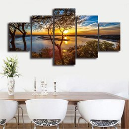 Panels Scenery Canvas Art Prints NZ - Wall Art 5 Panel Blue Sky Trees Lake Scenery Painting Modular Sunset Pictures Framed HD Printed Canvas Home Decor Living Room