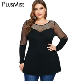 6ce4316d4b1 PlusMiss Plus Size 5XL Fishnet Mesh Sexy Tunic Tops Tees Women Big Size  Long Sleeve See Through T Shirts Autumn XXXXL XXXL XXL