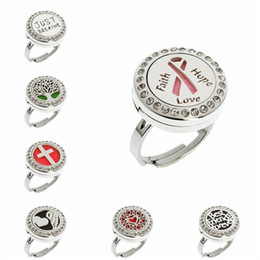 $enCountryForm.capitalKeyWord Australia - Faith Hope Love Ribbon Adjustable Rings 20mm 316L Stainless Steel Diffuser Locket Ring Essential Oil Perfume Locket Ring With 10pcs Pads
