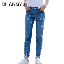 2018 Women Jeans Casual Fashion Solid Color Boyfriend Jeans Nail Beads Decorative Holes Broken Worn Ripped Jeans For Women High Safety Jeans Bottoms