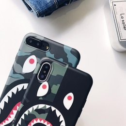 $enCountryForm.capitalKeyWord NZ - Tide brand camouflage shark mouth for iphone XS MAX mobile phone shell iPhone8 matte couple 6s 7 creative lanyard TPU earphones