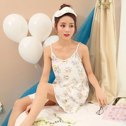 Discount girls cotton nightdresses - Girls suspenders nightdress female summer cotton cute Korean loose simple white sexy home service princess