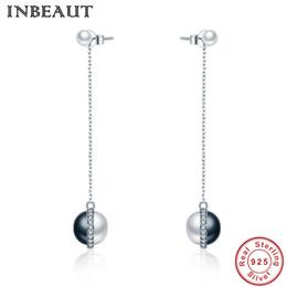 91a0ba7b2d32 INBEAUT Mujeres Original 100% 925 Sterling Silver WhiteBlack Pearl Long  Tassel Stud Pendientes Moda Femenina S925 Dangle Jewelry