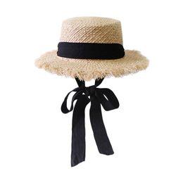 2f70cb00 Handmade Weave Raffia Sun Hats For Women Black Ribbon Lace Up Large Brim Straw  Hat Outdoor Beach Summer Caps Chapeu Feminino