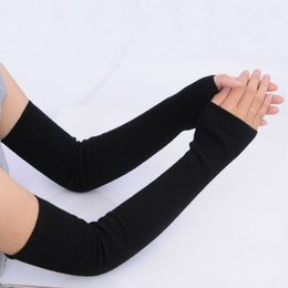 Long sLeeve gLove online shopping - Autumn Winter cm Women s Wool Arm Warmers Knitted Woolen Arm Sleeve Solid Superfine Long Knitted Fingerless Gloves