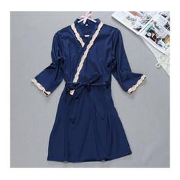 a6851bef70 Silk Robe Sexy Lace Sleepwear Night Dress Robes Women Nightwear Embroidery  Robe Set Nighty Home Clothing Sleeping Dress Summer