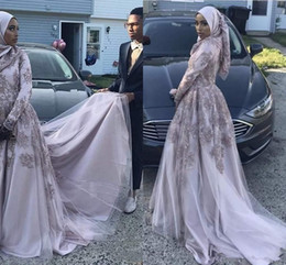 $enCountryForm.capitalKeyWord Australia - 2018 Elegant African Muslim Evening Dresses Wear A Line Long Sleeves Lace Appliques Beaded Popular Style Formal Prom Gowns
