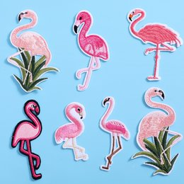 Wholesale Net Clothes NZ - Flamingo Applique Embroidery Patch For DIY Clothing Clothes Sew-On Iron-On Sewing Sticker Clothes Decoration 7 Styles H476Q