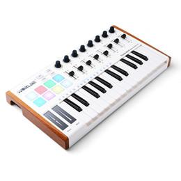 Pedal Controller Australia - Worlde 25 Key Portable Tuna Mini USB MIDI Keyboard Controller (8 Knobs 8 Pads 8 Faders) with Wood Imitation Rim, Pedal Interface