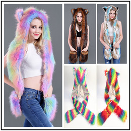 54656861152313 2018 Winter warm women's hats and scarf set girls fox unicorn Faux Fur Hat  Fluffy Plush Cap Hood oblong Scarf Shawl Glove female