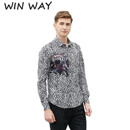 Win Shirt NZ - Win Way Tide Male Leopard Pattern Shirt Design Mens 3XL Tiger Print Clothes Singer Costume Slim Fit Outfit