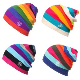 b8841153a8f Skate beanieS online shopping - Fashion Veneer Skiing Skating Rainbow Cap  Outdoor Sport Cold Protection Women