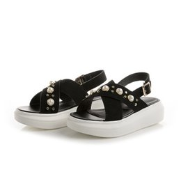 Korean muffin shoes online shopping - Women s shoes summer new Korean muffin thick bottom flat with students soft girl metal buckles sandals