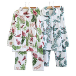 leaves bamboo 2019 - Fresh bamboo leaves Winter pajamas sets women thicken flannel Warm sleepwear soft elegance warmth pijama feminino 2018 d