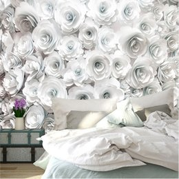 White 3d Rose Fabric Australia - Custom Photo Wallpaper Painting 3D White Rose Flowers Wall Murals Living Room TV Sofa Backdrop Wall Paper Modern Home Decor Room