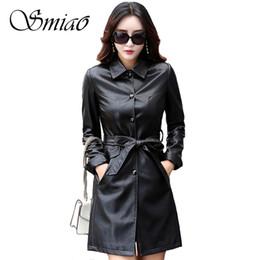 China Smiao 2018 Plus Size Autumn Winter Black Leather Jackets Women Female Long Women's Coats Slim PU Leather Outerwear Belt 4XL cheap leather coat belt suppliers